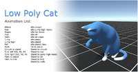 Cat low poly - animated