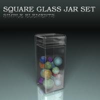 3D glass jars model