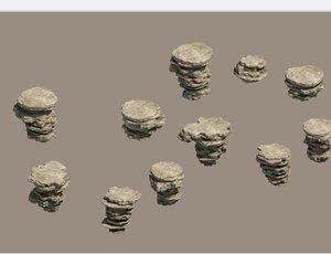 3D model mountain rock stones