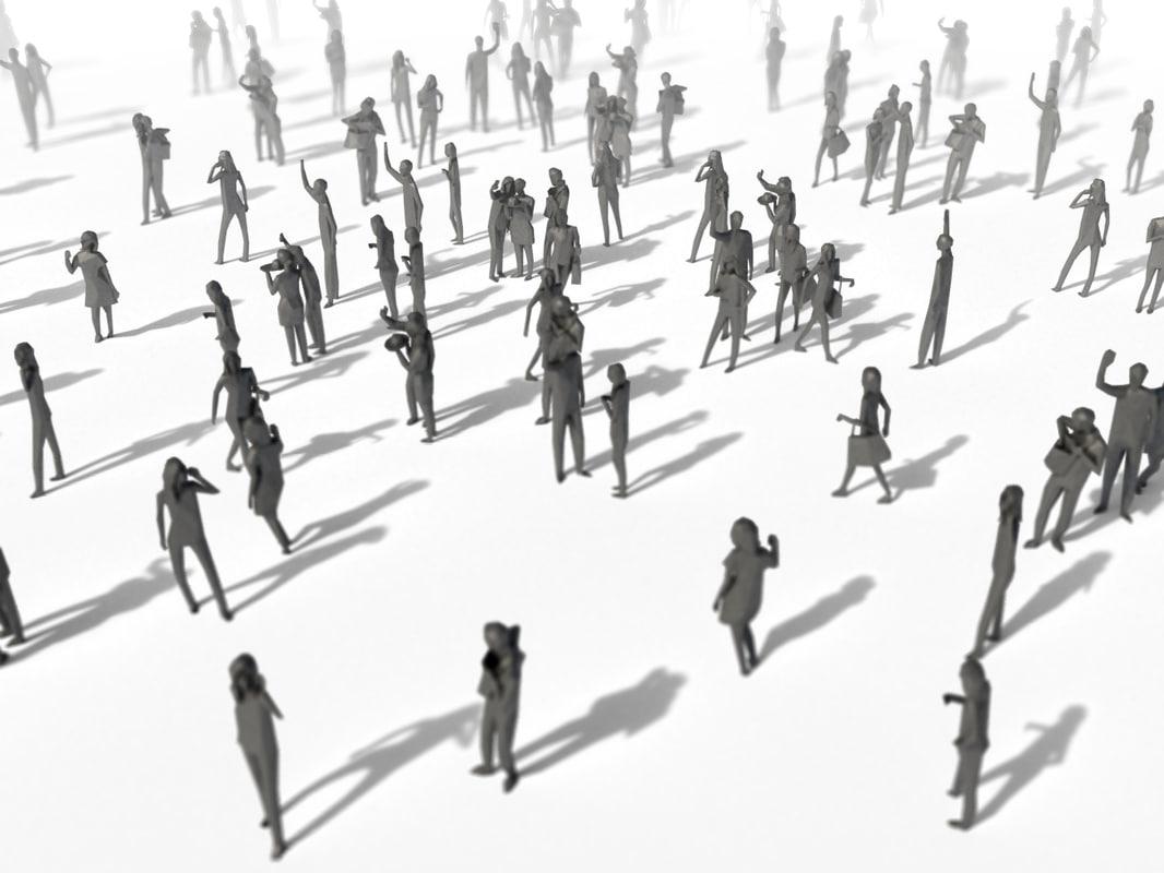 3D people crowd