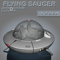 3D ufo flying saucer retro