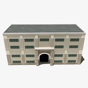 realistic office build 3D model