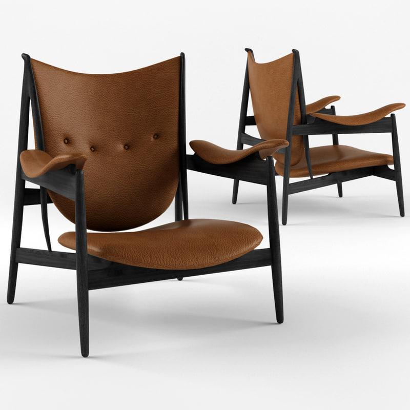 3D finn juhl chieftain chair model