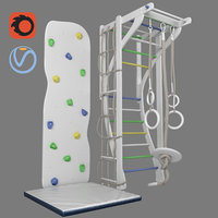 children's sports complex with stairs, rings, climber and rope