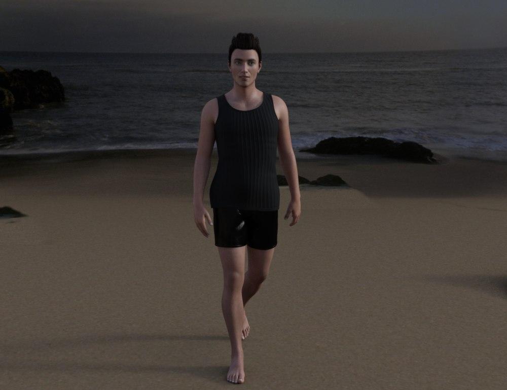 3D man beach male