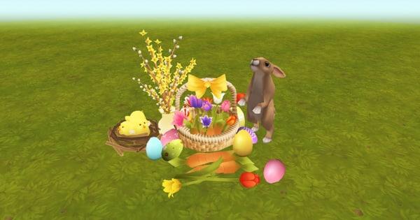 eggs flowers hare 3D