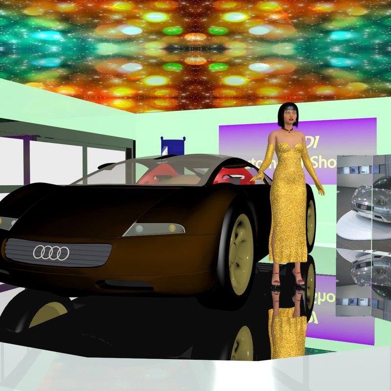 stand car asian girl 3D model