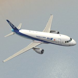 3D airbus nippon airways - model