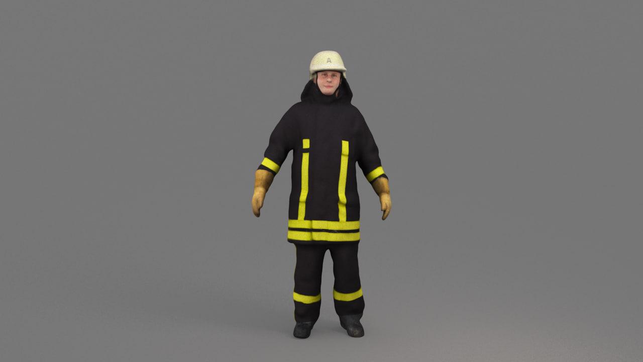 3D german firefighter model
