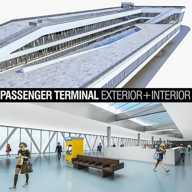 3D port terminal building interior