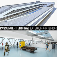 3D port terminal building interior