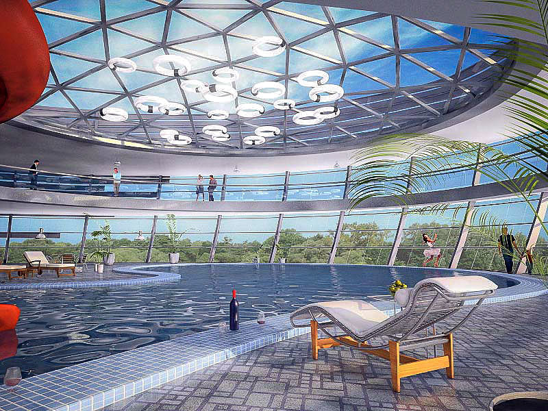 modern swimming pool interior 3D model
