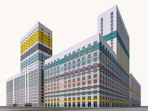 modern residential complex build 3D model