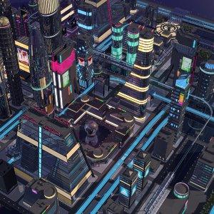 3D city night model