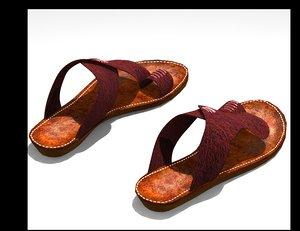 3D leather sandal