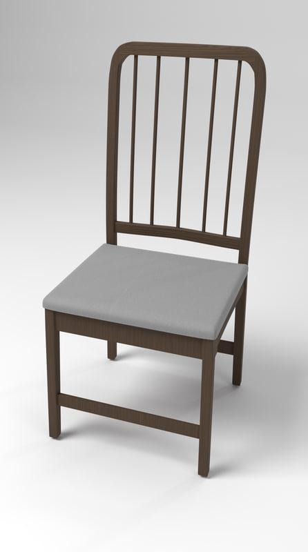 3D model dark wood chair