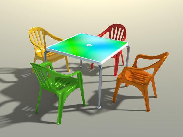 pvc garden chairs table 3D model