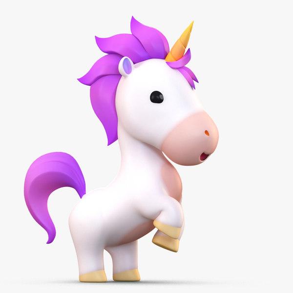 cute cartoon unicorn 3D model