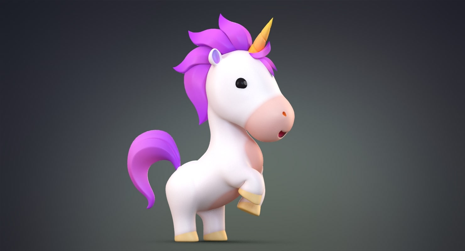 cute cartoon unicorn 3d model turbosquid 1247402