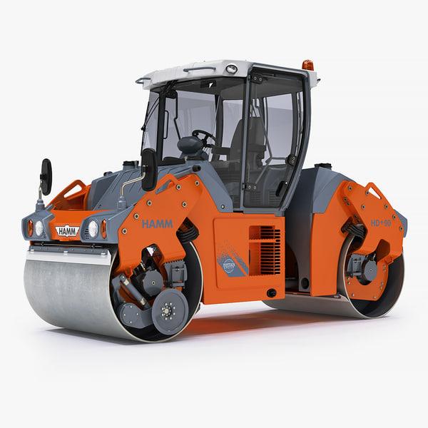 hamm-hd90 articulated tandem roller 3d 3ds