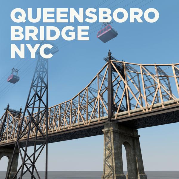 queensboro bridge roosevelt island c4d