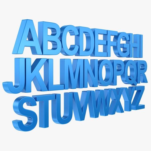 3d alphabet letter subdivided