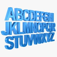 3d alphabet letter subdivided
