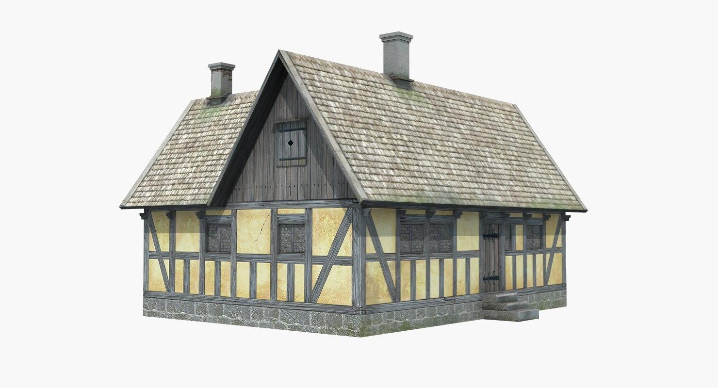 medieval half timbered house 3d model. Black Bedroom Furniture Sets. Home Design Ideas