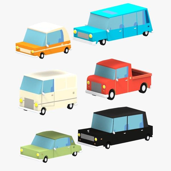 cartoon cars 3D model