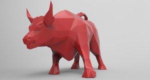 bull printing modelled 3d model