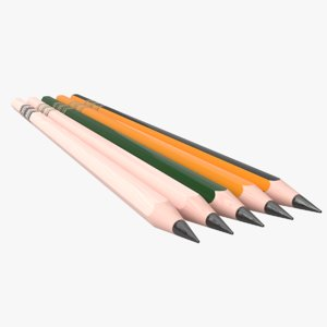 graphite wooden pen pencil 3D model