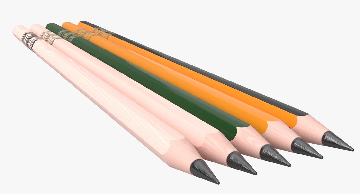 graphite wooden pen pencil 3D model