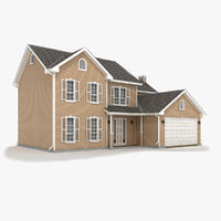 3d model of two-story house 10