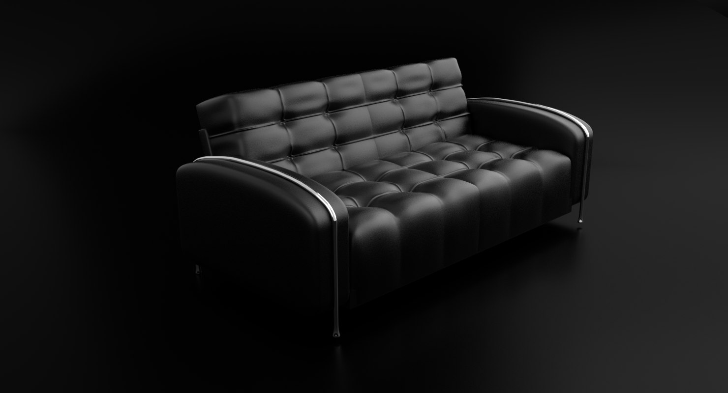 black leather love seat 3D model