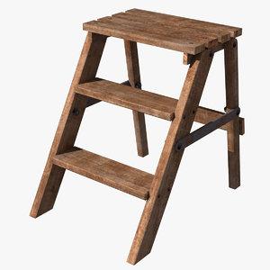 ladder step wood 3d model