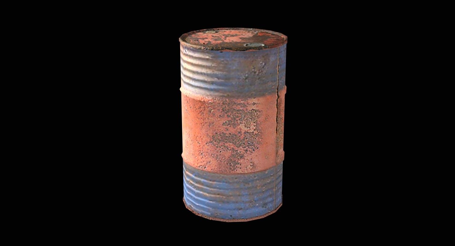 gameready metal barrel 3d 3ds