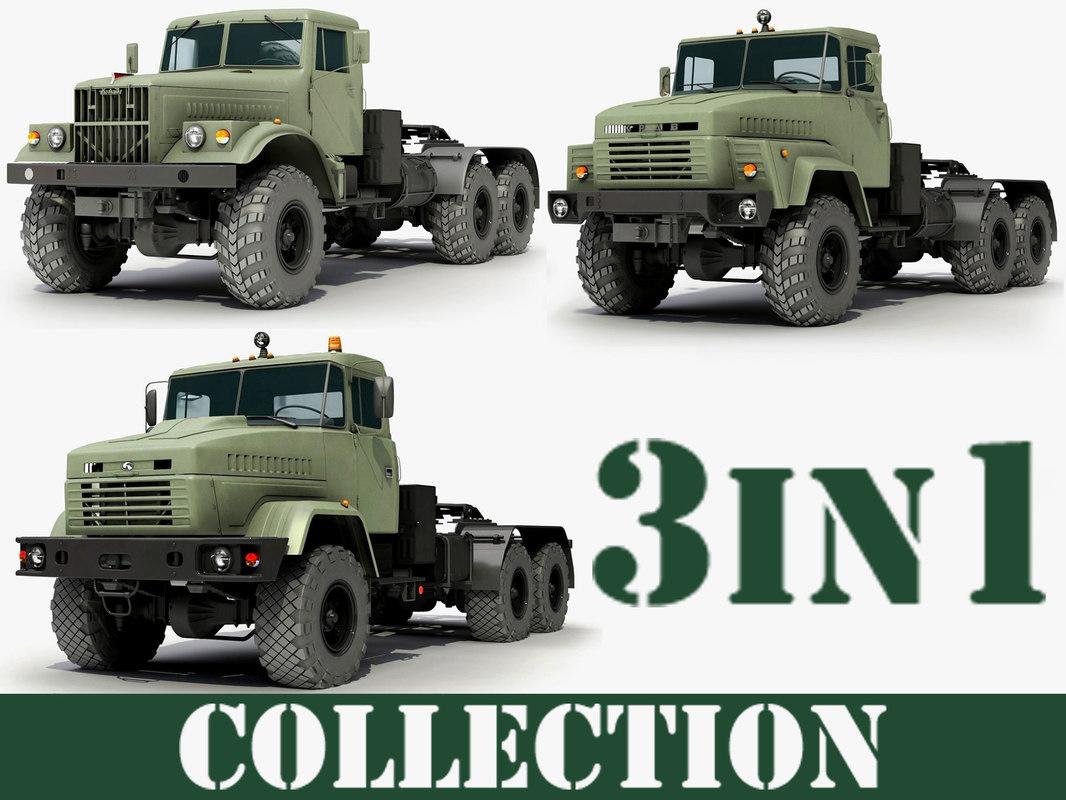 3d ukrainian military trucks kraz model