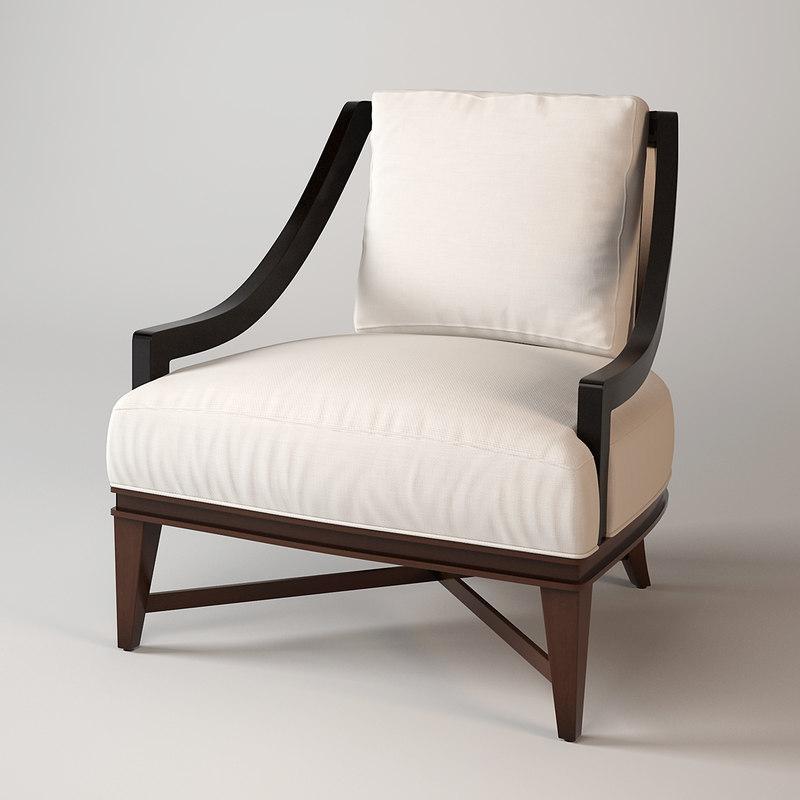 3d model baker nob hill lounge chair
