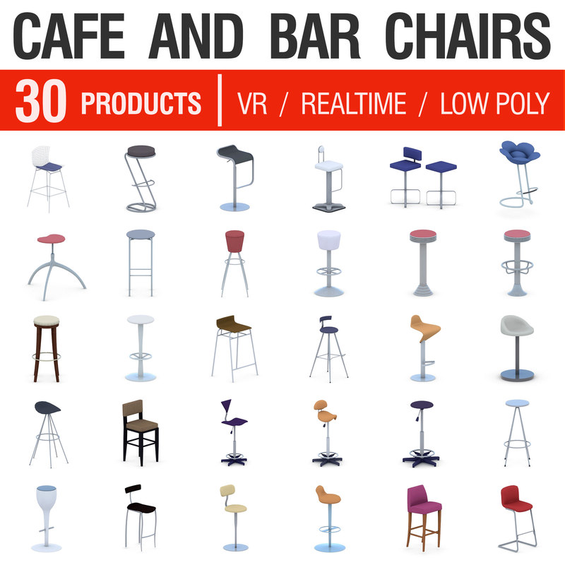 cafe restaurant bar chairs 3D
