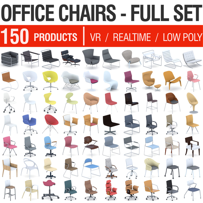 office chairs - 150 3D model