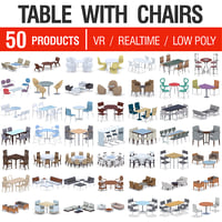 3D model table chairs - 50