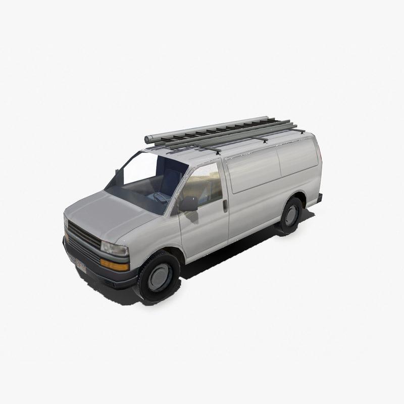 3ds max modern delivery van vehicle