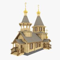 3d church russian wooden