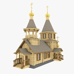 3d church russian wooden
