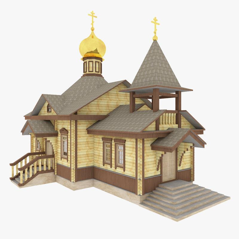 3d model church wood russian