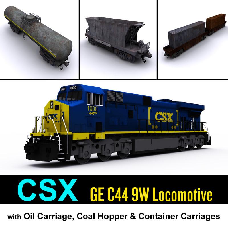 3d csx locomotive cargo carriage