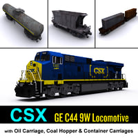 3d csx locomotive cargo carriage