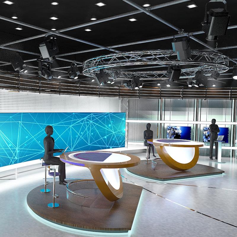 virtual tv studio news set 3d model