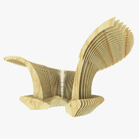 Abstract Park Parametric Wooden Bench