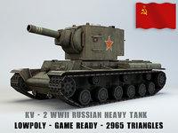 KV II Ussr Heavy Tank Lowpoly
